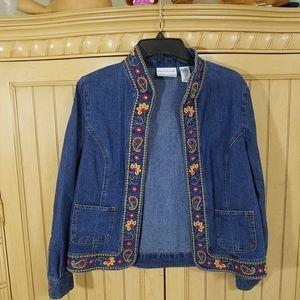 Denim Embroidered Jacket, Alfred Dunner, sz 6P